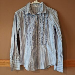 J.Crew Frill LongSleeve Blue/White Button Down Top